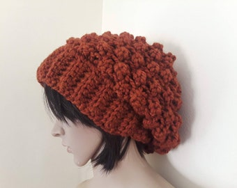 Women's knit hat/beanie for women/hand knitted hat/warm wool hat/winter beanie/slouchy knit wool hat/crochet winter beanie/BURNT ORANGE hat