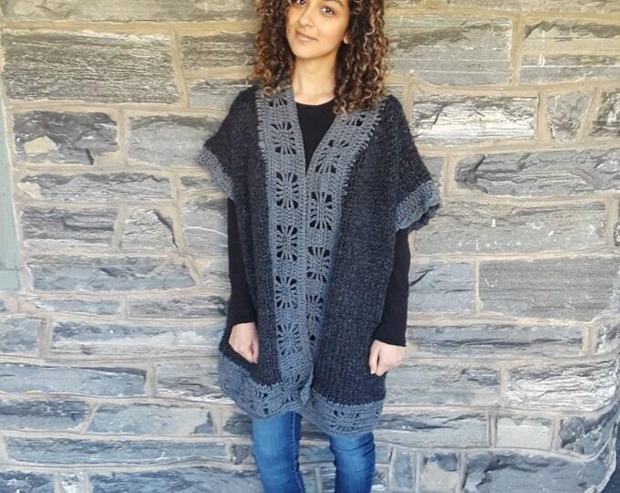 Oversize Cardigan/plus size cardigan/crochet cardigan/ Boho style Cardigan/Loose fit cardigan/hand knitted wool vest/Bohemian wool cardigan
