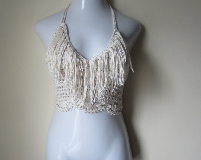 Crochet crop top, Fringe cropped halter top, festival, crochet halter top,  bikini top, gypsy, boho bohemian, summer top, 70's top