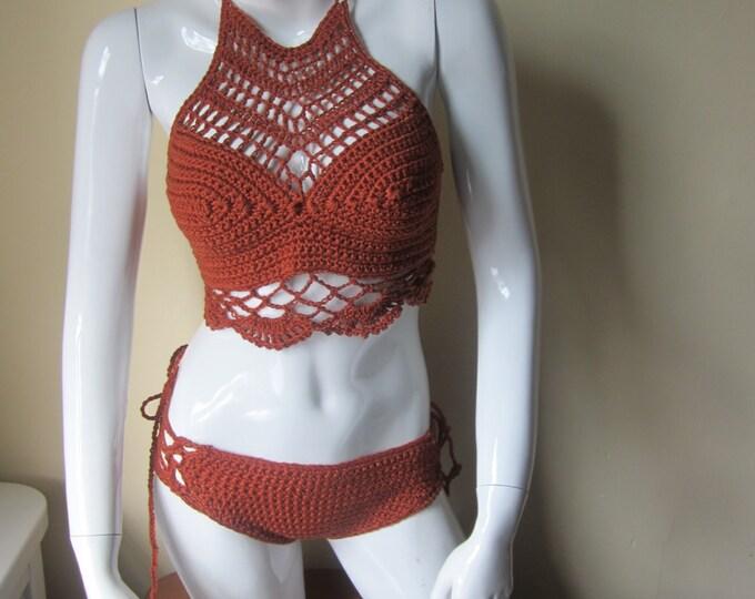 Crochet bikini set, Burnt sienna swimwear, crochet bikinis, swimwear, bathing suits, crochet swimsuits, swimsuits, bikinis, beachwear