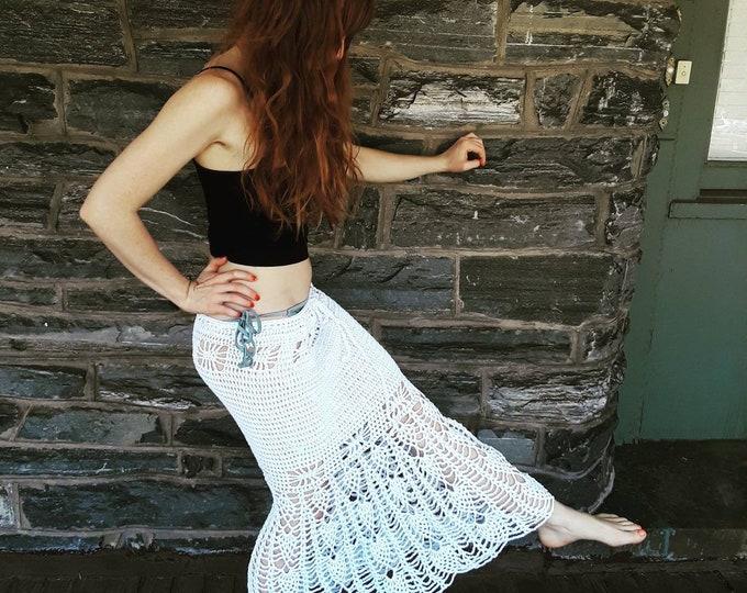 CROCHET MAXI SKIRT, crochet mermaid skirt, White crochet maxi skirt, beachwear, white Crochet dress, festival clothing, gift for her, boho