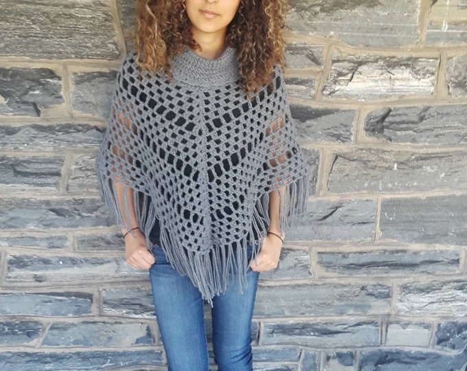 CROCHET PONCHO/Grey crochet womens poncho/cowl Poncho/ Boho poncho/Fringe poncho,/gift for her/Birthday gift/ Christmas gift/ Fall fashion