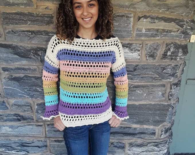 Pastel rainbow Sweater/ Crochet sweater/boho style sweater/Womens sweater/Bohemian sweater/hippie style sweater/gift for her/gypsy clothing