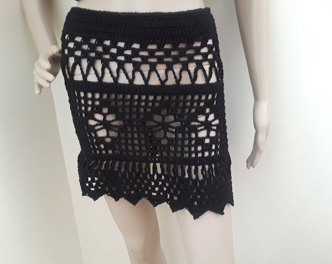 Crochet skirt, beach crochet skirt, sexy crochet skirt, crocheted skirt, black skirt, lace skirt, boho skirt, festival skirt, gypsy skirt