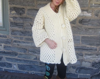 IVORY OVERSIZE CARDIGAN/plus size cardigan/chunky oversize sweater/cozy cardigan/womens sweater/womens cardigan/gift for her/Christmas gift