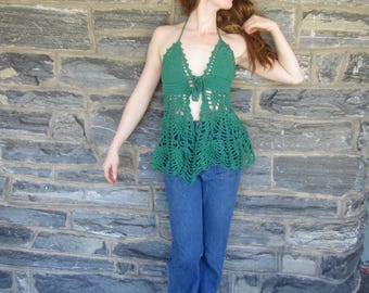 FOREST GREEN HALTER top, festival clothing, crochet halter top, Bohemian halter top, beachcover up,  gypsy top, Hippie halter top