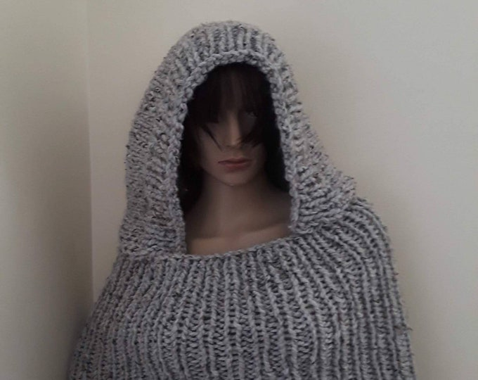 Women's knit poncho/hooded poncho/hood cowl/women's poncho/poncho for women/hand knit poncho/poncho/poncho for girls/holiday gift for her