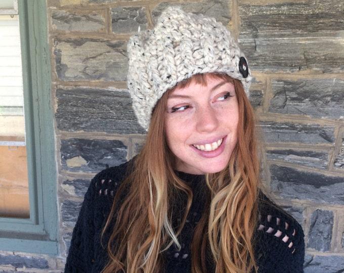 Crochet beret/ crochet tam/ Buttons/ dreadlock tam, womens hat, Ribbed  Knit Slouchy beanie, Chunky Beanie