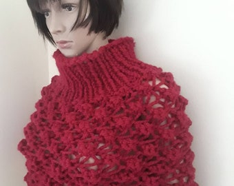 Cranberry KNIT PONCHO/wool knitted poncho/Cowl neck poncho/poncho women/ poncho femme/hand knitted poncho/poncho sweater/poncho for ladies