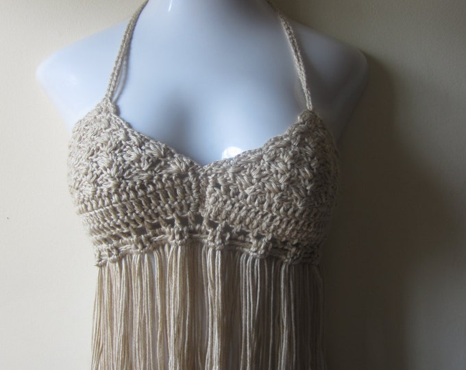 Crochet Gypsy Fringe halter top, Taupe, festival clothing crochet bikini top,  crochet boho top, festival crochet top, summer top, 70's top