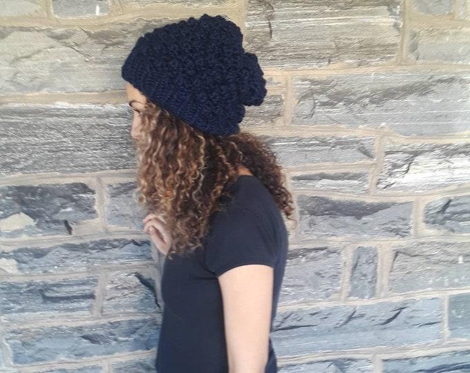 Navy blue SLOUCHY BEANIE/ Knit slouchy beanie/dreadlock beanie/ womens hat/beanie for dreadlocks/knit Slouchy Hat, Slouchy Beanie Hat/gift