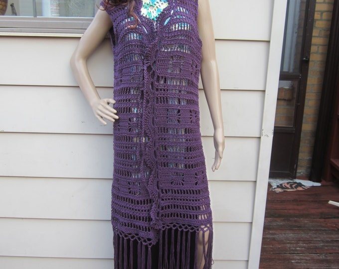 Crochet Boho maxi Vest, festival clothing, gypsy clothing,crochet fringe maxi vest, Boho vest  crochet vest, Gypsy clothing, hippie vest