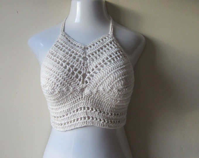 FESTIVAL HALTER TOP, crochet crop top, crochet halter, boho top,  hippie top, crop top, halter top,  crochet halter top, summer top,
