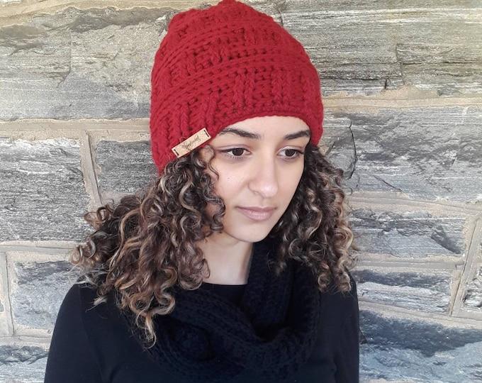 CROCHET HAT/ beanie/holiday gift/gift for her/women hat/winter beanie/Women's beanie/CLARET beanie/warm winter hat/handmade hat/skull hat