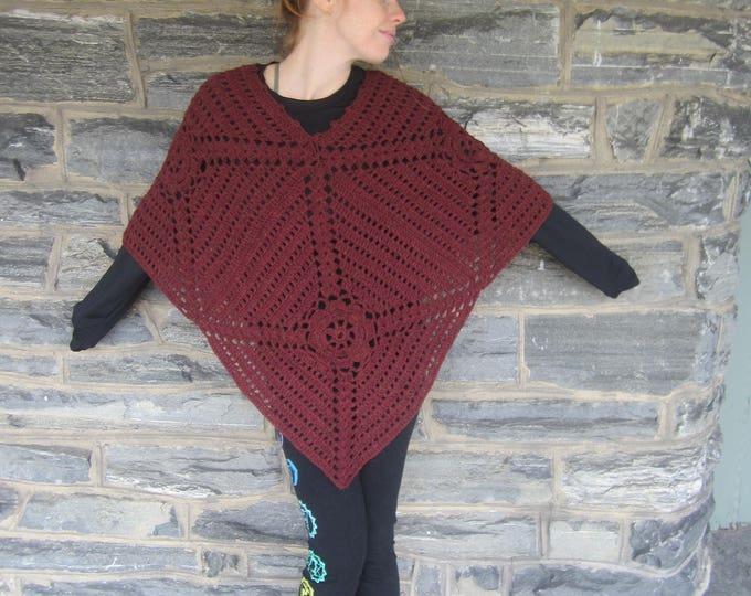 PONCHO, crochet poncho,Burgundy Poncho,  womens poncho, festival clothing, gypsy, hippie, Boho poncho, Fall/Winter clothing, newly listed!