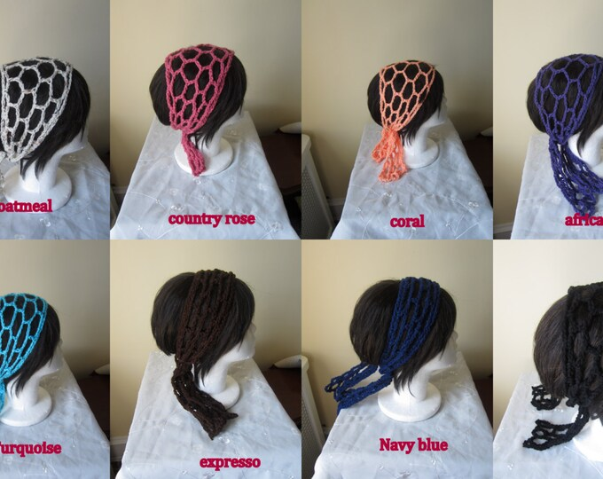 Crochet hairband, headband, fishnet, gypsy headband, Spring/summer, festival, beachwear, Boho,