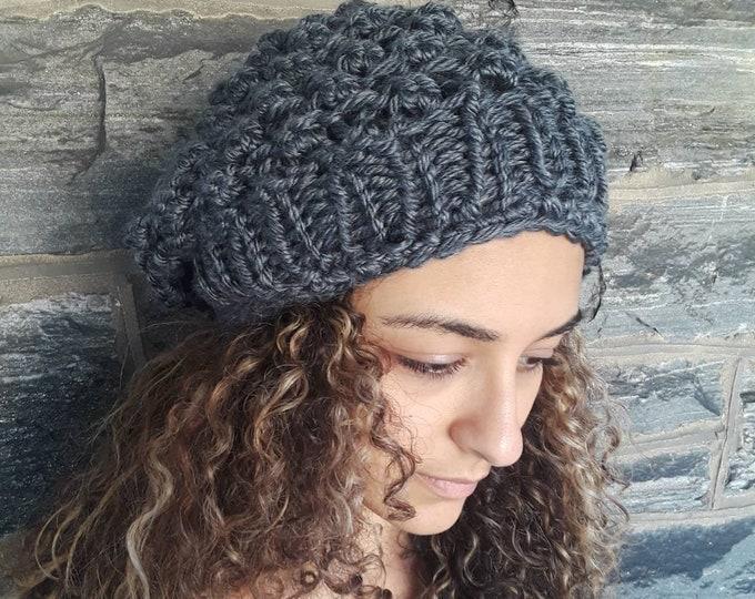 GRAY SLOUCHY BEANIE/ Knit slouchy beanie/dreadlock beanie/ womens hat/beaniefor dreadlocks/knit Slouchy Hat, Slouchy Beanie Hat/gift for her