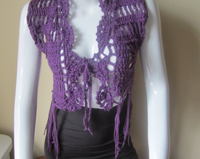 Crochet vest, cropped, Fringe vest, PURPLE, festival clothing, gypsy, boho, cotton