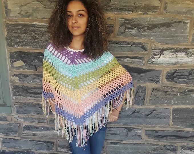 Pastel rainbow poncho/crochet poncho/Hippie fringe poncho/ festival clothing/Beachwear/ Boho Fringe poncho/festival poncho/gift for her