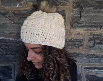 Crochet beanie/faux pompom beanie/crochet hat/women's hat/warm winter hat/winter white beanie/skull cap beanie/gift for her/hand made beanie