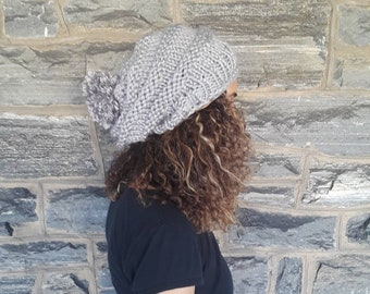 SILVER BEEHIVE BEANIE, Knit hat, Beehive Beanie, womens hat, dreadlocks beanie, winter accessories,  slouchy beanie, winter hat, chunky hat,