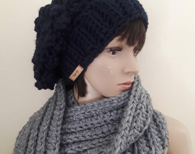 Women's knit hat/beanie for women/hand knitted hat/warm wool hat/winter beanie/slouchy knit wool hat/Navy blue hat/winter accessories