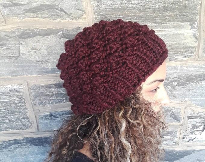 Knit skull cap beanie/claret beanie/skull cap hat/womens beanie/knit beanie/gift for her/holiday gift/warm hat/beanie/hat/FallWinter Fashion