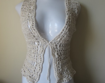 Crochet Vest, VEST, Sweater, festival vest, Boho vest, retro vest, Egyptian cotton, scalloped edges, festival clothing, gypsy, boho