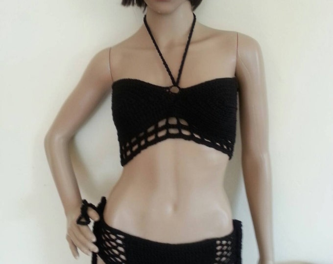 Crochet BIKINI cage bikini, lace up bikini,Bandeau bikini top, cage bikini top, crochet bikini set, crochet bikinis, swimwear, beachwear