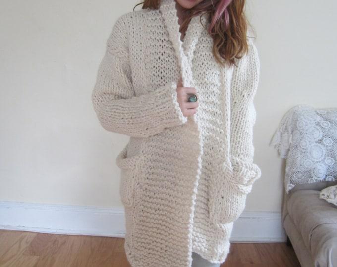 IVORY CARDIGAN/ chunky knit cardgian/ Winter white cardigan/ womens cardigan/ ivory sweater/cardigan/womens knit cardigan