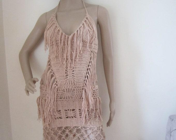 Crochet dress, boho crochet dress, festival clothing Crochet dress, Fringe  dress  beach cover up, resort wear, party, gypsy, salsa dancing