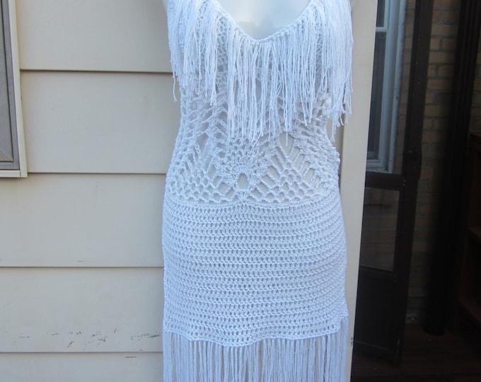 Crochet Fringe Dress, Fringe monokini dress,  WHITE, Festival clothing, summer dress, bohemian, gypsy, Cotton