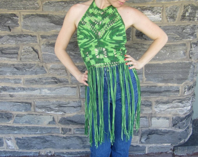 FESTIVAL CROCHET TOP,  Hippie top, bohemian clothing, Electric forest Fringe top, festival clothing, gypsy clothing, *ready to ship*