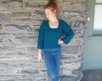 TEAL CROCHET SWEATER, sweater, bohemian  style sweater crochet jumper, Fall sweater, crochet top, gift for her, womens sweater, knitwear