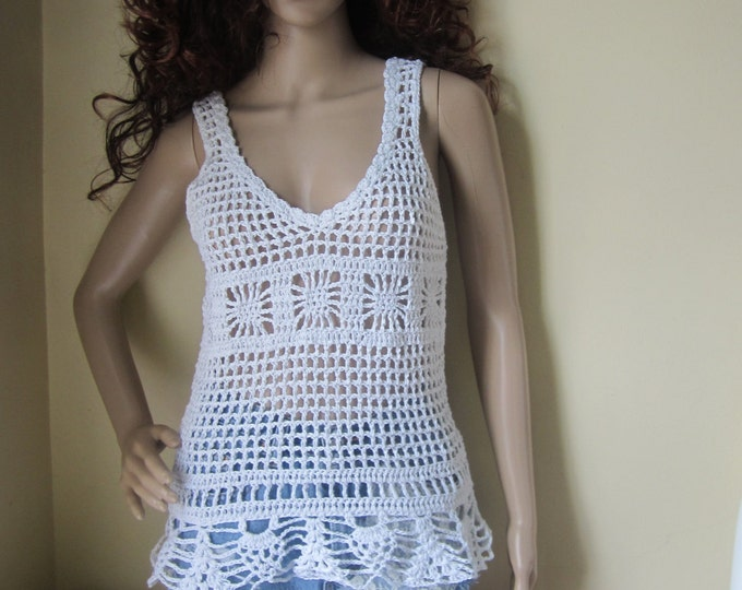 CROCHET MESH TANK top, Crochet tank top,  Crochet peplum tank top, Offwhite , festival top, boho chic, beach cover up, gypsy top, cotton