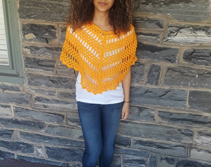 BOHO PONCHO/orange crochet poncho /womens poncho/poncho girl/gypsy poncho/gift for her//Birthday gift/ Christmas gift/ Fall fashion/festival