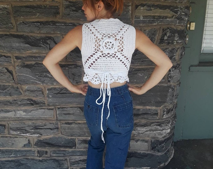 Mandala Wrap top, crochet wrap top, festival top, crochet vest, wrap vest,  festival clothing, front tie vest, gypsy vest, gift for her