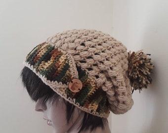 Crochet slouchy beanie/beanie with pompoms/handmade beanie/chunky crochet beanie/womens beanie/hat for women/crochet hat for women/gift