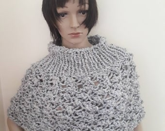 KNIT PONCHO/wool knitted poncho/Cowl neck poncho/poncho women/ poncho femme/hand knitted poncho/poncho sweater/poncho for ladies/GrayMarble