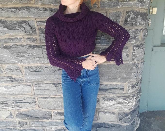Cropped crochet sweater, handmade sweater, crochet sweater,  women's sweater,crop top bohemian style womens sweater,crochet cropped sweater