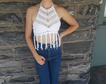 HIPPIE FRINGE TOP, crochet halter top, festival top, festival clothing, white crochet top,70s fashion, bikini cover, crochet bikini top*new*
