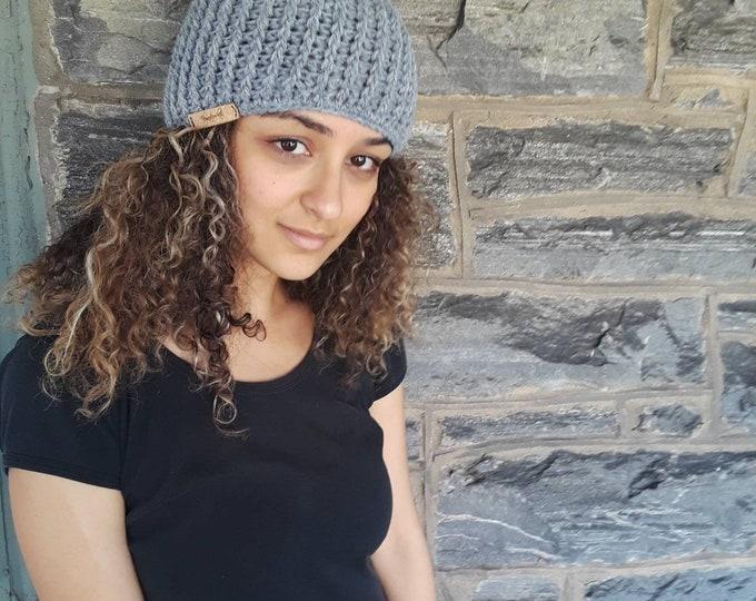Grey hat/CROCHET skull cap beanie/holiday gift/gift for her/unisex beanie/ crochet hat/gift for him/ beanie/women's crochet winter hat