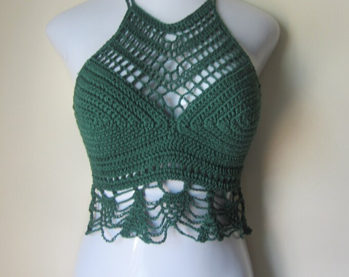 Crochet halter top, High neck, Green top, festival top, ,boho gypsy, beach cover up, gypsy top, crop top, crochet crop top, music festival