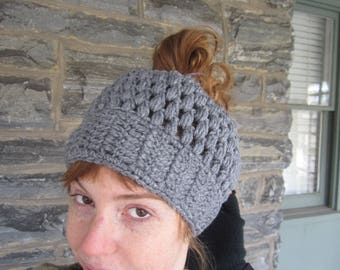Gray Crochet messy bun beanie, messy bun beanie,  ponytie beanie, crochet ponytail beanie, messy bun hat, headband, hair accessory