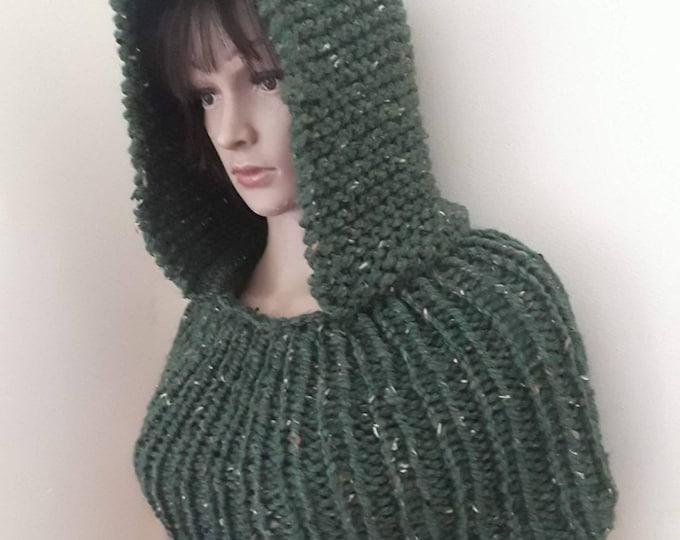 HOOD COWL/hooded neck warmer/ scarf with hood/ cowl with hood/knit hoodie/ hooded cowl/hood cowl scarf/knit hood cowl/infinity scarf/snood