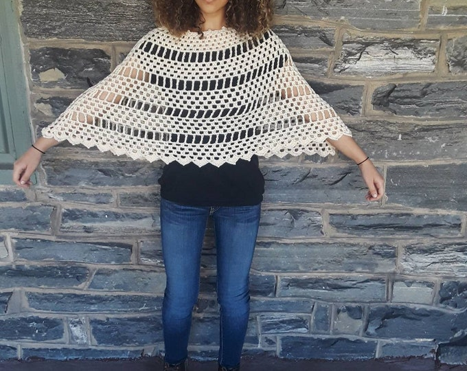 CROCHET IVORY PONCHO/ hippie poncho /womens poncho/poncho girl/gypsy poncho/gift for her/poncho/Birthday gift/Christmas gift/ Fall fashion