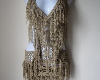 Crochet monokini, Crochet dress, Fringe monokini halter,  beach cover up, resort wear, party, gypsy, salsa dancing Gold bamboo yarn
