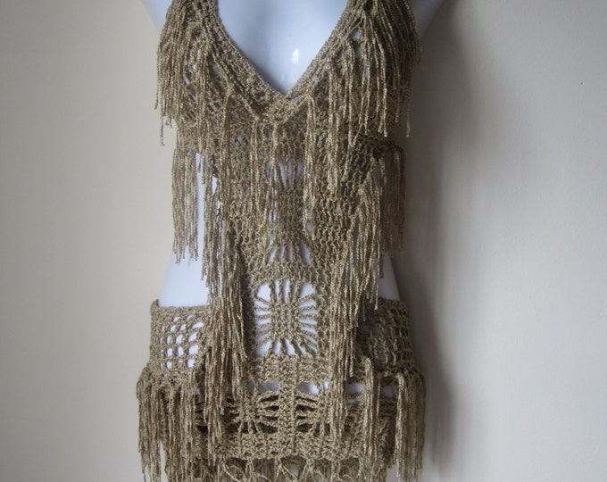 Crochet monokini, Crochet dress, Fringe monokini halter,  beach cover up, resort wear, party, gypsy, salsa dancing Gold bamboo yarn