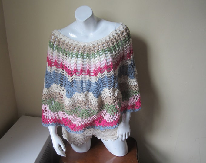 Pastel rainbow Poncho, womens poncho, crochet poncho, FESTIVAL CLOTHING, Boho poncho, asymmetrical top, poncho top, Boho, , gypsy, hippie