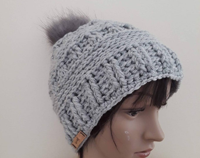 SILVER CROCHET BEANIE/ hand made beanie/ fitted beanie/ womens hat/ handmade hat/warm winter Hat/skull cap Beanie Hat/gift for her/pompom